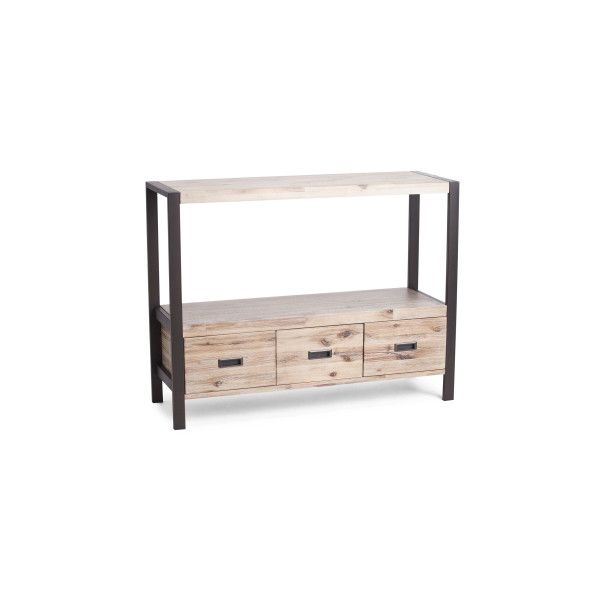 Acacia Console Table ($200) ❤ liked on Polyvore featuring home, furniture, tables, accent tables, shelves furniture, acacia table, shelf console table, shelf table and finishing wood furniture