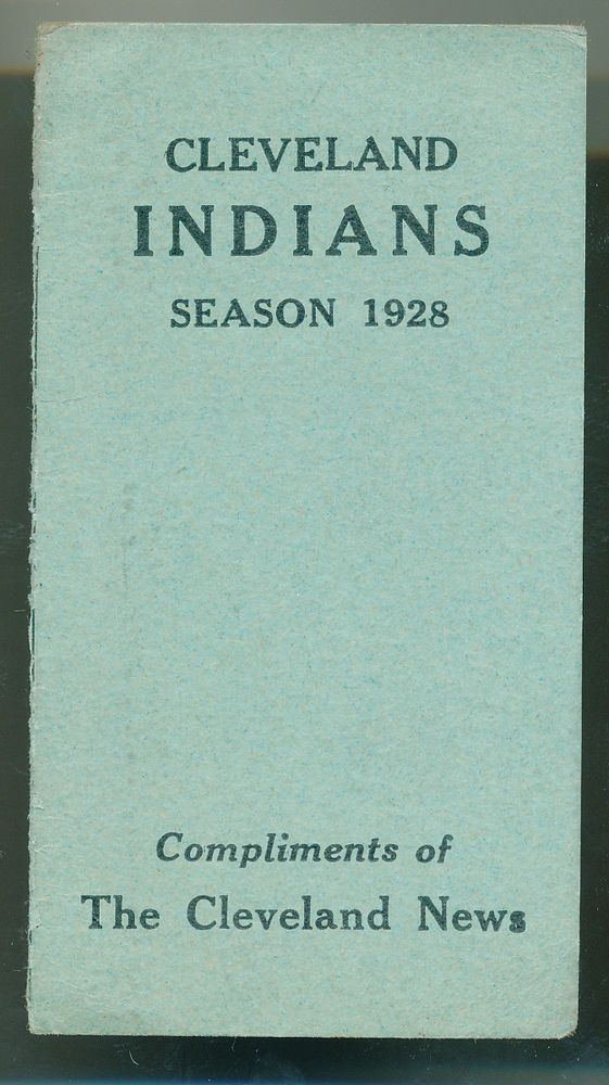 1928 Cleveland Indians Pocket Schedule Compliments Of The Cleveland News from $14.99
