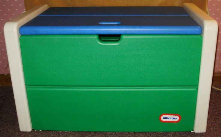 Vintage Little Tikes Child Full Size Toy Box Blue Green