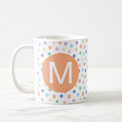 Rainbow Dots Orange Monogram Initial Letter Mug - pattern sample design template diy cyo customize