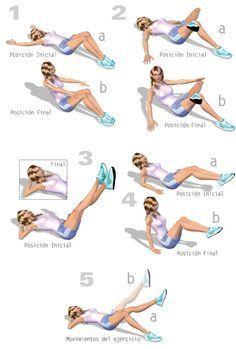 Ejercicio para la Cintura. Ejercicio 5:  Recostada con las manos en la nuca y la cabeza descansando sobre ellas, flexionar una pierna y apoyar el pie extendiendo la otra (a). Subir y bajar la pierna extendida con el pie en punta y sin tocar el suelo (b). Los abdominales deben estar contraídos y el movimiento debe ser suave y concentrado. Repite 15 veces con cada pierna.