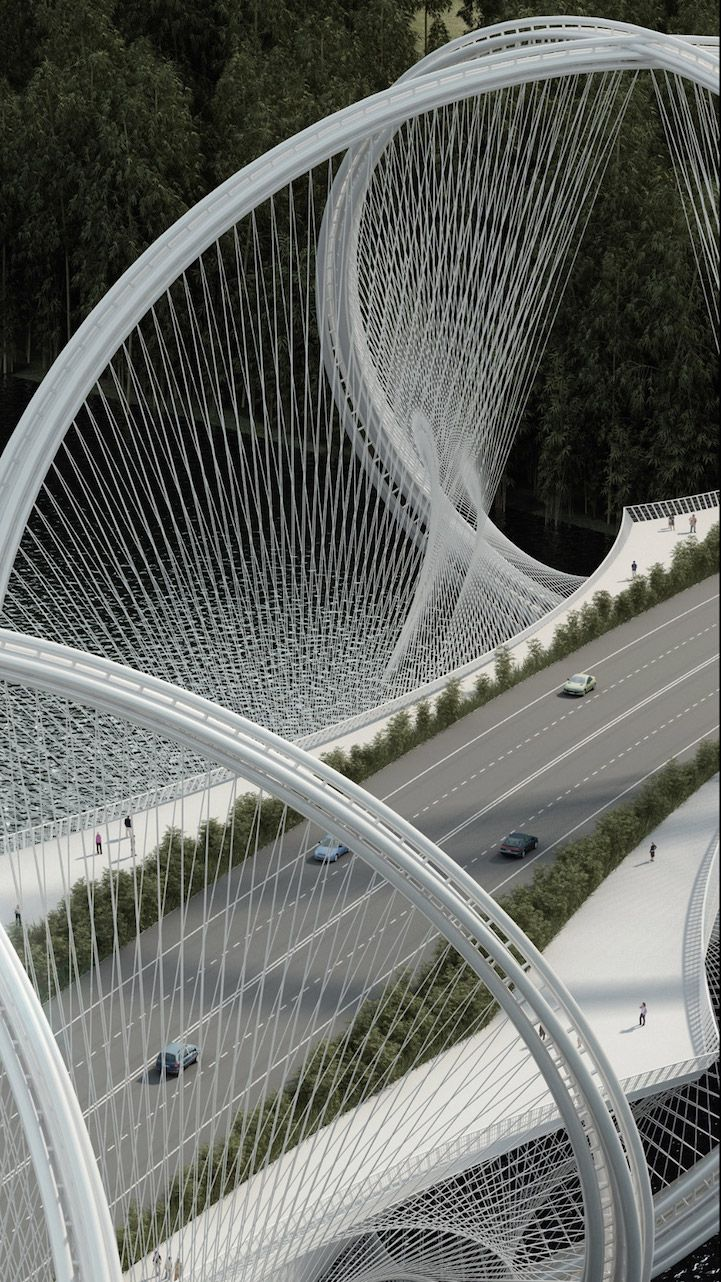 San Shan Bridge in China. The bridge will be completed in time for the 2022 Winter Olympic Games in Beijing, and will span across the Gui River connecting Beijing's city center to Zhangjiakou.