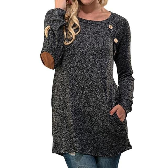 Long Sleeve Top with Button Detail and Elbow Patchwork