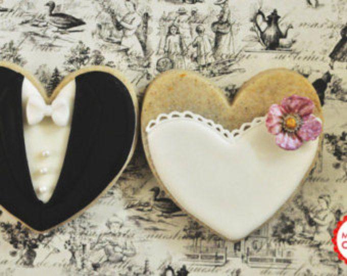 Flor de novia y novios de boda favorecen de docena de galletas-1 (Set de 6 pares)-favores de galletas, galletas de boda, galletas despedida de soltera