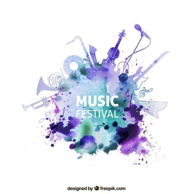 Festival de música no estilo da aguarela