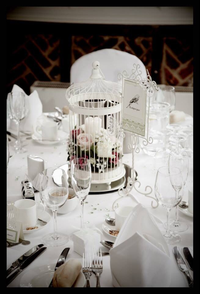 Ivory Birdcages and Table name/number holder available for hire.