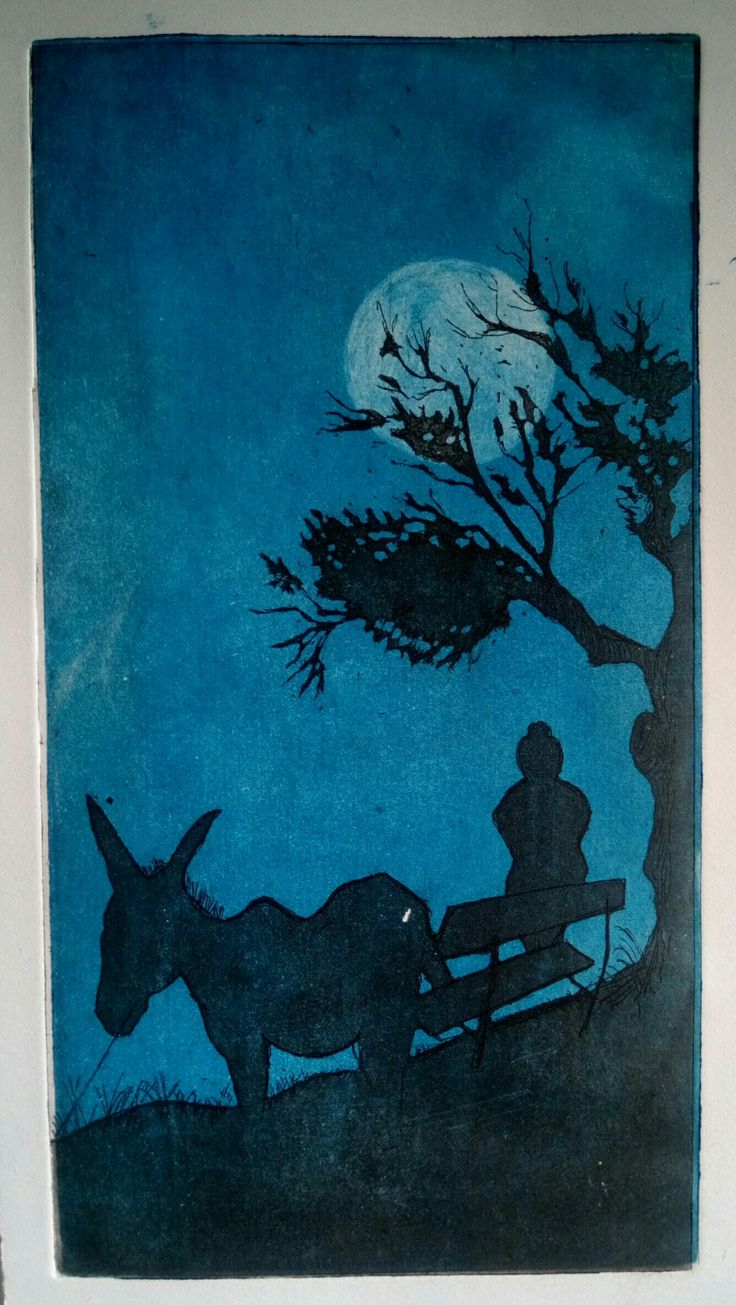 """""""Staring the full moon in Chios Island"""", Aquatint, two plates, 15×20 cm"""