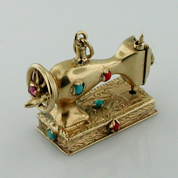 Antique Victorian 14K Gold Jeweled Sewing Machine Vintage Charm