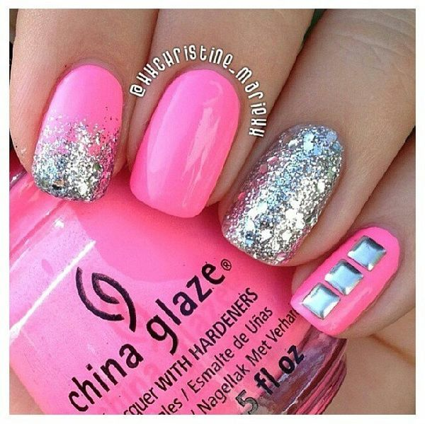 Pink nail art on pinterest