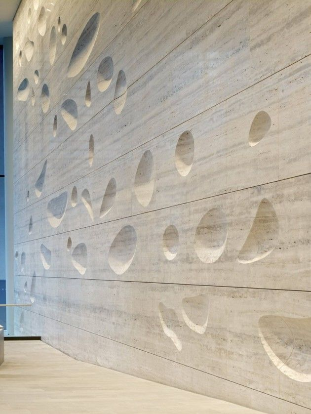 sculpted travertine wall by kohn pedersen fox 20 greshem street london kohn pedersen - Walls By Design