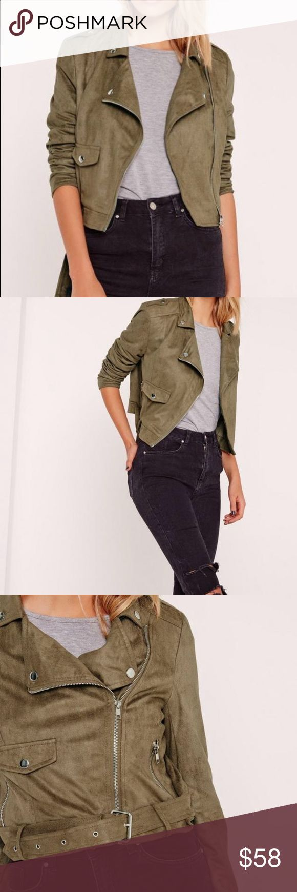 *NEW* MISSGUIDED faux suede biker jacket Super cute faux suede biker jacket in khaki/olive green color. Sold out online! Never been worn (no tags sorry), no stains. UK Size 8 is equivalent to US Size 4 (seen on model height 5'7) Missguided Jackets & Coats