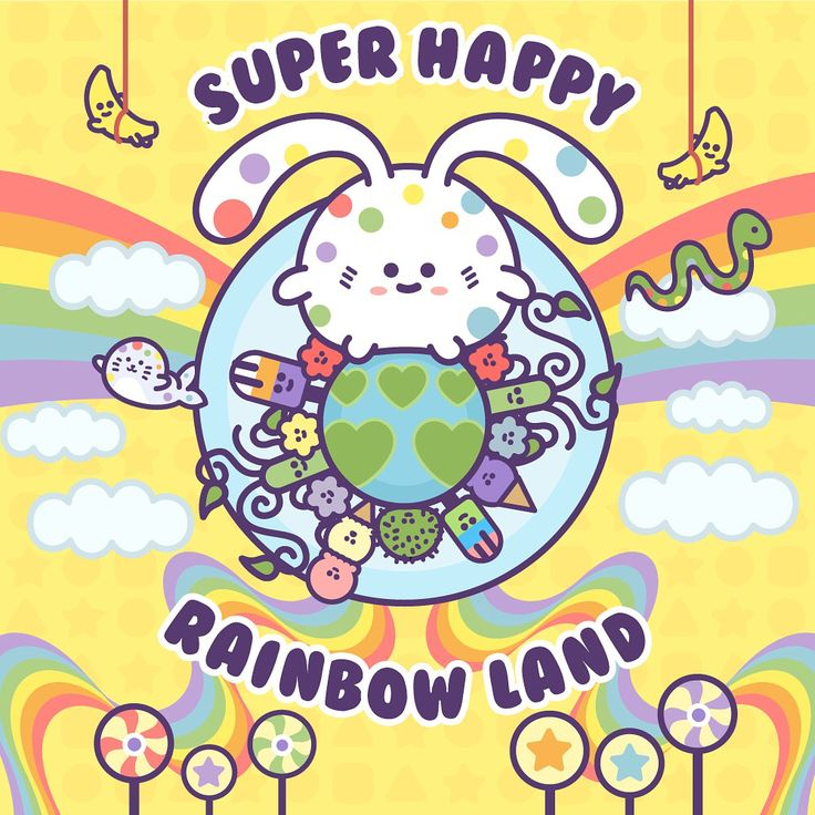 Super Happy Rainbow Land - Today's drawing (#366) is a very special drawing. I made it to one full year of doing a daily drawing everyday! There's been moments where I didn't think it would happen, but I'm so glad I stuck it out. Thank you to my loyal friends and fans for the support ^.^