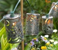 .: Recycle Cans, Recycled Cans, Cute Ideas, Christmas Lights, Gardens Lights, String Lights, Diy, Yards, Tins Cans Crafts