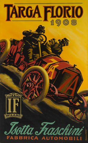 Robert Carter: 1908 Targa Florio, oil on canvas depicting Vincenzo Trucco and Alfieri Maserati in the 8.0 liter 4 cylinder Isotta-Fraschini, winners of the 185 mile race.