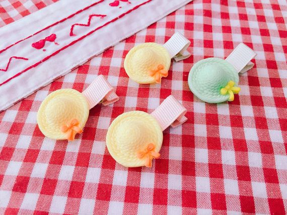 Hat hair clips Baby Yellow Hair Clips Infant Head by Janeysfaves