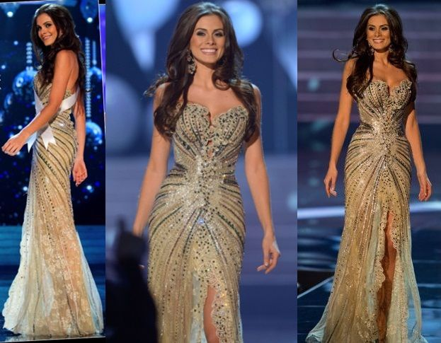 Vestido Miss Universo 2014 Summer Pageant Dresses Evening Mermaid Gold side slit Crystal Beaded Lace Tulle Prom Dresses