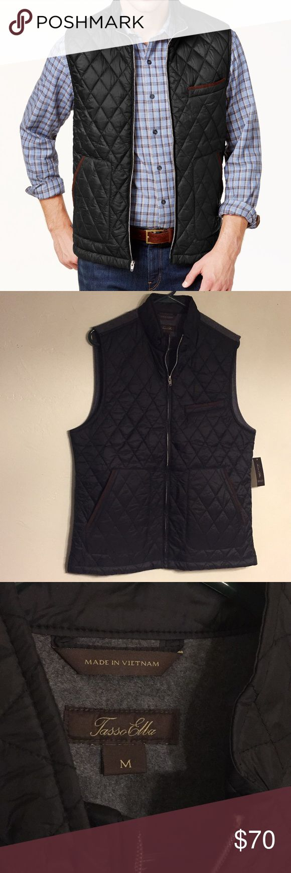 Tasso Elba quilted vest, men's size M, NWT Tasso Elba quilted vest, men's size M, NWT, great condition, dark navy blue front with brown details, gray cotton back, great for all year long Tasso Elba Jackets & Coats Vests