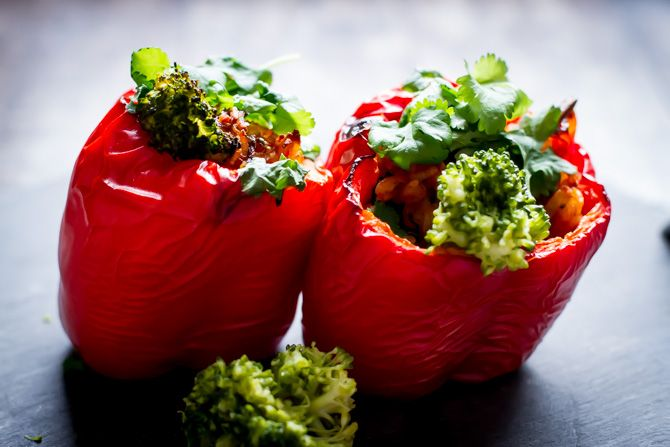 red pepper filled by brocoli