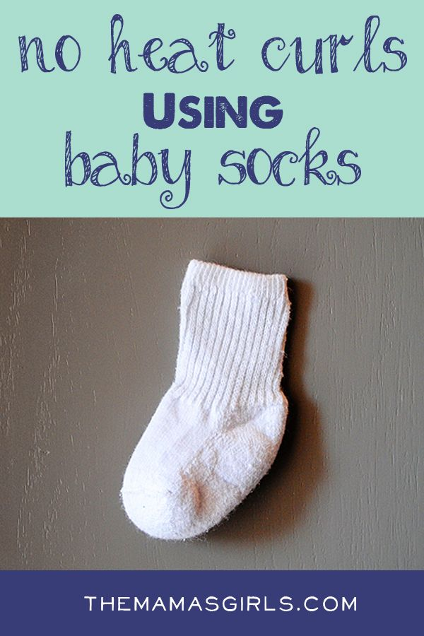 No Heat Curls Using Baby Socks! This looks workable because you can sleep on them. I wonder if they make any denting lines