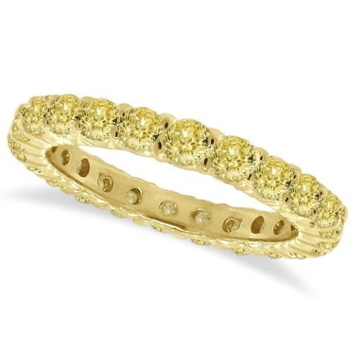 1cae0bec31a Fancy Yellow Diamond Eternity Ring Anniversary Band 14k Gold (1.07ct ...