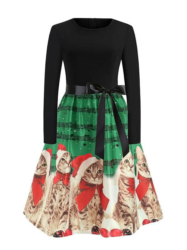 a556cf269604 Women's Cute Christmas Cat Print Vintage Dress | Products ...