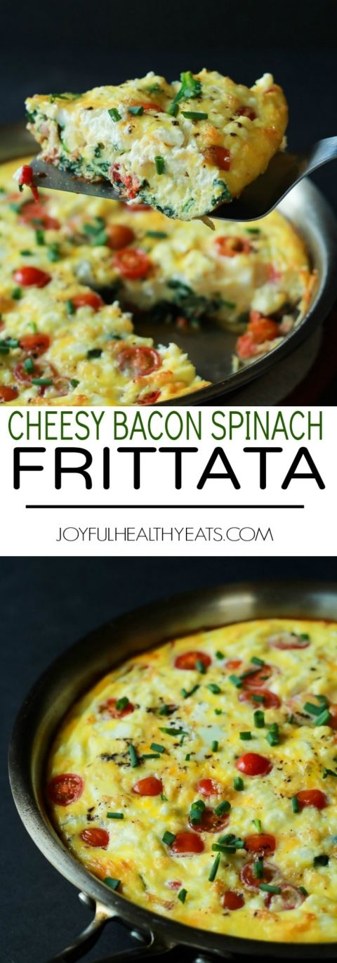 A Cheesy Bacon Spinach Frittata done in 30 minutes! This Spinach Frittata is packed with goat cheese, roasted red peppers, and bacon! Perfect for Brunch! | joyfulhealthyeats.com #easter #mothersday #recipes