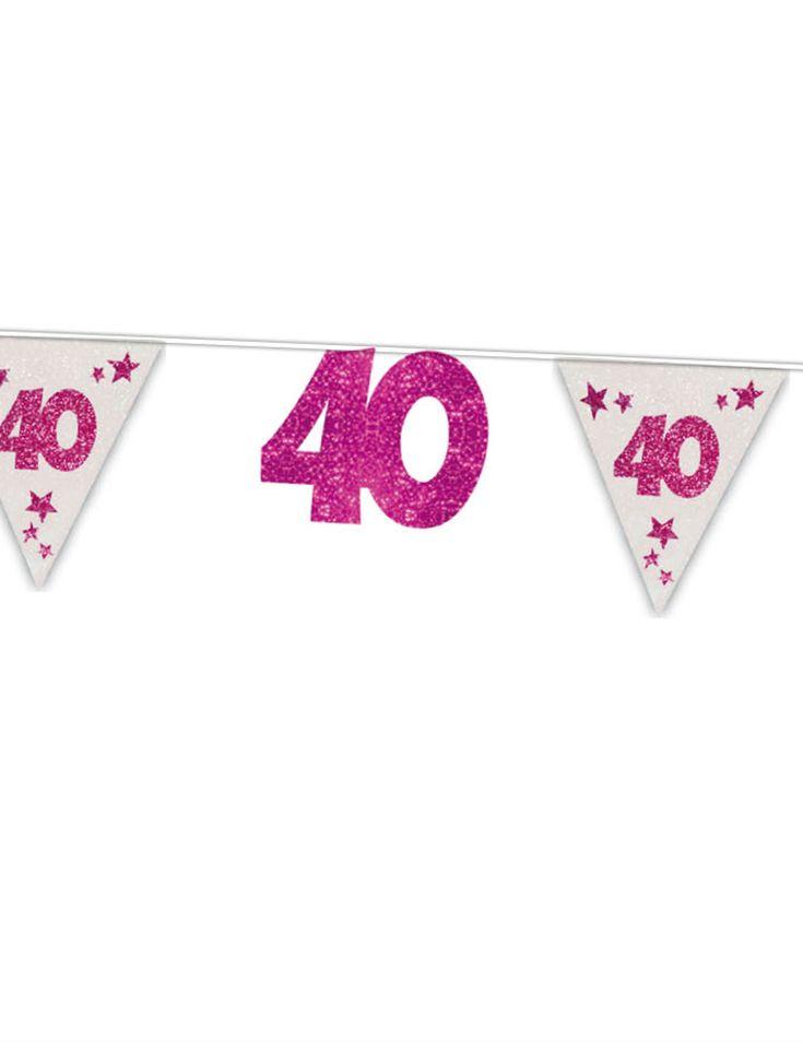 """Guirnalda rosa purpurina 40 años 6 m: Esta guirnalda de cumpleaños 40 años mide 6 metros.Tiene banderines blancos con el número 40 y banderines de """"40"""" con purpurina rosa.Dale color a tu decoración..."""