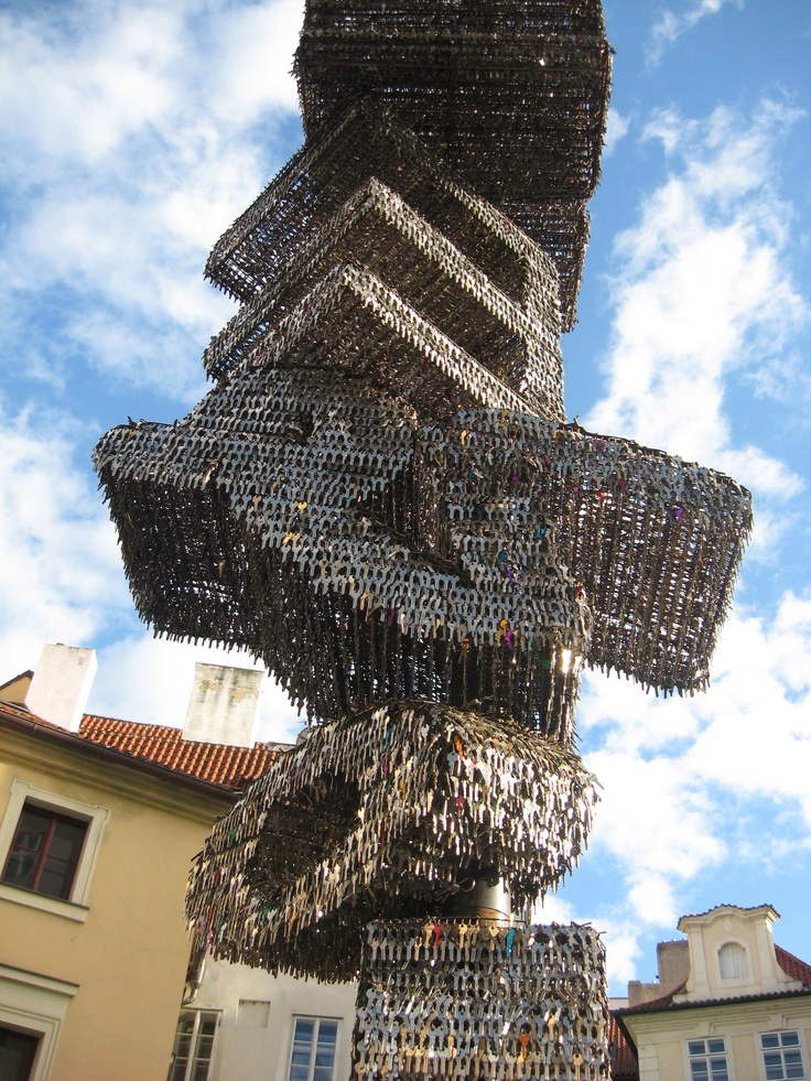 The statue is made from 80,000 keys and says Revolution (It's a symbol of Czech Velvet Revolution when thousands of people went to streets jingeling with their keys to stand up against communism)