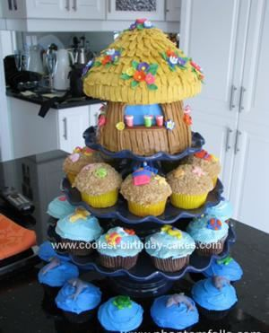 Luau cupcake tower