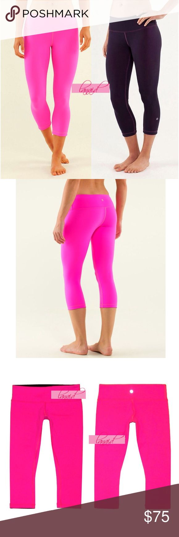 "Lululemon Reversible Wunder Under Crops Pink Black 📡PRICE IS FIRM AND NON-NEGOTIABLE. NO OFFERS. LOWBALLERS WILL BE BLOCKED. NO TRADES.📡 Lululemon ""Wunder Under Crop"" reversible yoga pants in Raspberry Glo (hot pink)/Black. Reverses to black--two looks in one! This pair was not made with a size dot, but these are a size 8, as stated on the removable inner rip tag before it was taken out. Four-way stretch, second-skin fit. Made with sweat-wicking, breathable, cottony-soft Luon. lululemon…"
