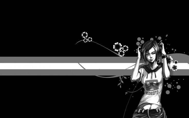 a girl hearing music with black and white flowers background hd wallpapers