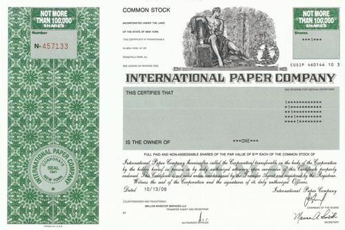 International Paper Stock Certificate