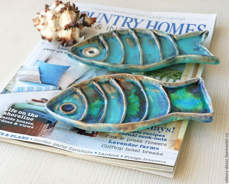 Купить Тарелка керамическая Рыбка - бирюзовый, синий, бирюзово-голубой, бирюзово-зеленый, сине-голубой