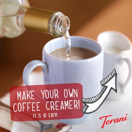 Make your own coffee creamer! It's easy - Just combine one pint of half and half and 1/4 cup Torani syrup! (You can pick any flavor you would like ... and Torani has over 100!)