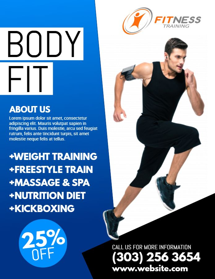 Fitness Flyer Template - Blue Fitness Flyer, Flyer, Sport Poster