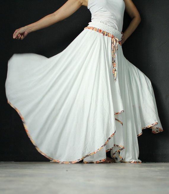 Circle Long Skirt Handmade Maxi Skirt White Women Skirt Party Full Skirt Flowing Double Layered