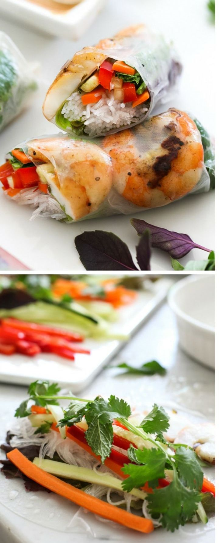 Grilled Shrimp Vietnamese Spring Rolls with two dipping sauces and lots of fresh crunch