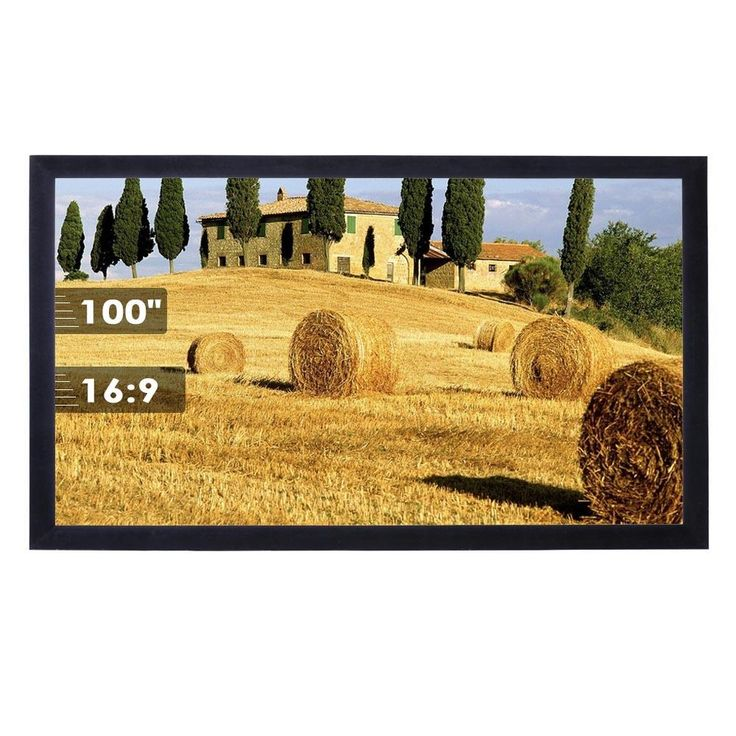 """100"""" 16:9 Fixed Frame Permanent Projector Screen Wall Mount"""