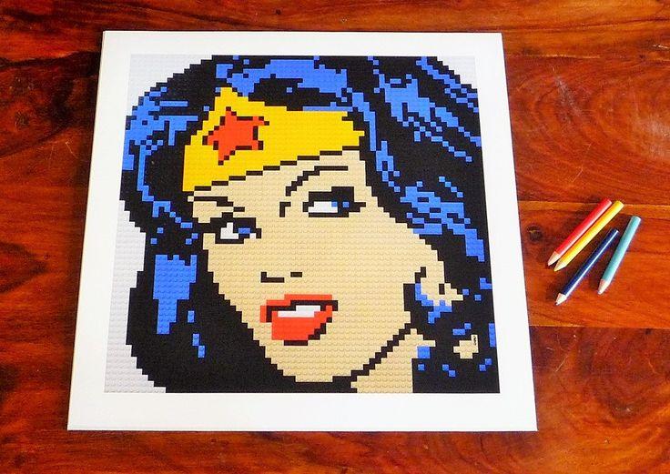 "Wonder Woman print of original Lego® mosaic (12"" square) by OxfordBrickArt on Etsy"
