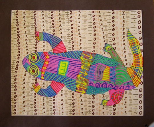 aboriginal animals with overwritter markers
