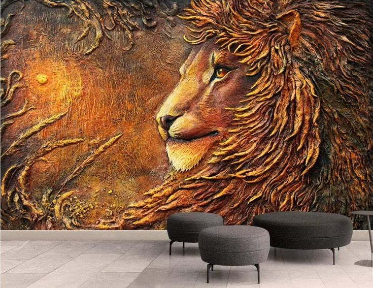 Wall Mural 3D Wallpaper Embossed Minimalist Golden Lion