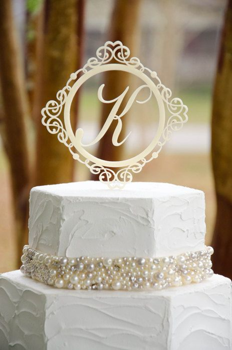 Wedding Cake Topper Monogram Ornate Design 5 Inch Personalized with YOUR Initial on Etsy, $30.00
