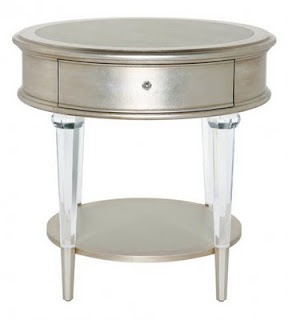 occasional table handcrafted table with lucite legs white gold leaf finish and leather inset top custom sizes finishes and inset options