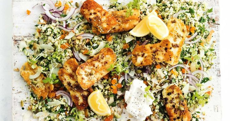 For a winning vegetarian dinner, try our cauliflower and broccoli couscous topped with grilled haloumi.