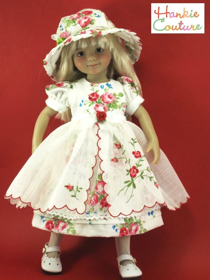 "OOAK EMBROIDERED HANKIE APRON DOLL DRESS FITS 13"" LITTLE DARLING EFFNER BJD"