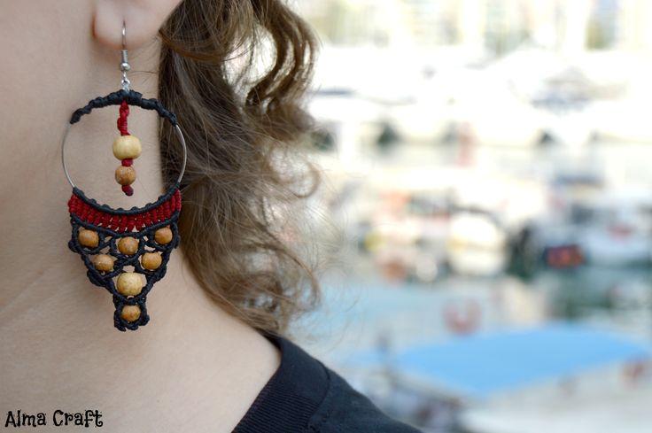 Macrame Hoop with Wooden Beads