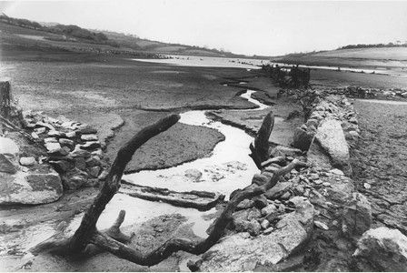Stithians reservoir in the summer drought of 1976