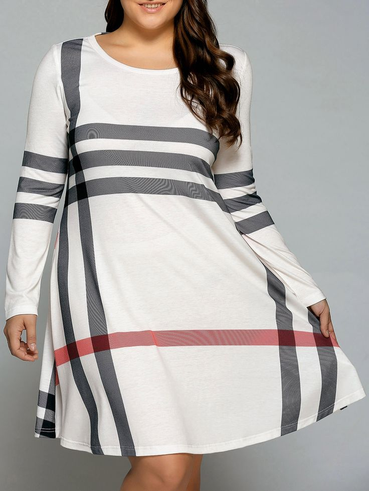 Plus Size XL-5XL Vertical Striped T-Shirt Dress available in white, red, blue, grey, or  green -  Modern sophisticated simple plaid print, long sleeves, scoop neck & knee length A-line skirt. Plus size fashion for women, plus size outfits, curvy girl fashion summer, pin ups, curvy fit, curvy fashion, plus size dresses to wear to a wedding, plus size homecoming dresses, bbw, ssbbw, bbws big girls full figured, plus size clothing, chubby fashion, big booty dress design, fashion designing…