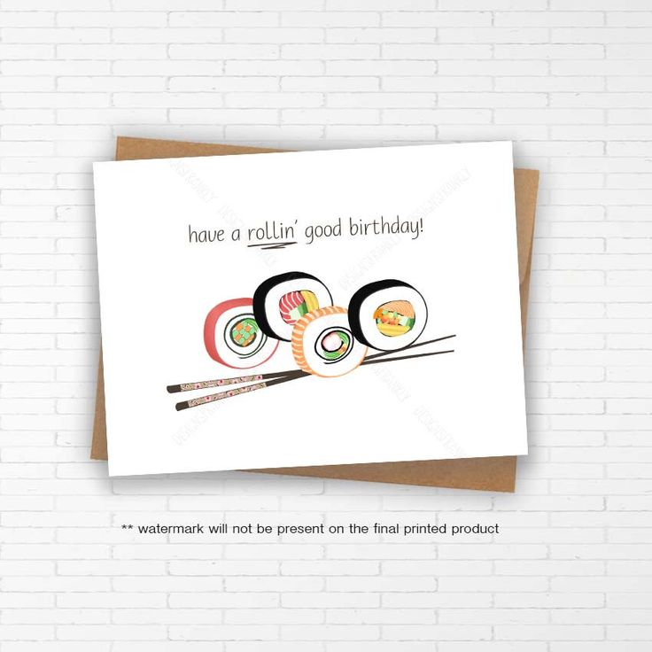 Funny Unique Sushi Birthday Card: With envelope Handmade sushi unique greeting card Pun punny Birthday greeting card Funny fun birthday card by DesignsFrankly on Etsy https://www.etsy.com/sg-en/listing/278678636/funny-unique-sushi-birthday-card-with