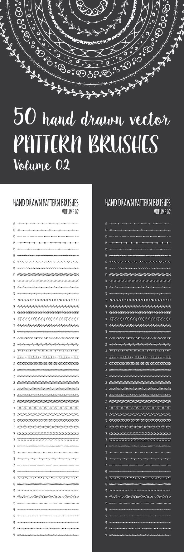 50 Hand Drawn Vector Pattern Brushes — AI Illustrator #hand sketched #boho • Download ➝ https://graphicriver.net/item/50-hand-drawn-vector-pattern-brushes/18936734?ref=pxcr